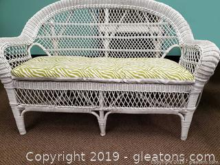 Small Whtie Wicker Loveseat