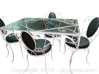 Adorable Small Glass Top Wrought Iron Table With (4) Chairs