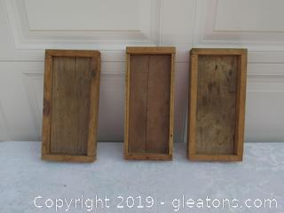 Last 3 Primitive Handmade Low Wooden Boxes