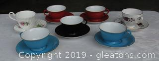 7 China Tea / Coffee Cups with Saucers / 1 Allyn Nelson Made in England / 1 Royal Vale made in England / 5 Noritake made in Japan