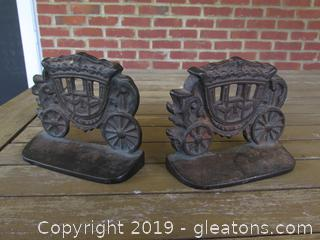 Pair of Antique Cast Iron English Victorian Carriage Coach Bookends