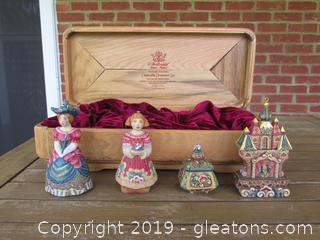 Exquisite Limited Edition 2004 Cinderella Ornament Set by G. DeBrekht in a Wooden Box 186/1200