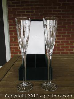 Neiman Marcus Crystal Toasting Champagne Flutes in Box 12 Inches Tall Made By Godinger for Neiman Marcus