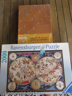 Unopen Ravensburger Puzzle Astrologicial Charts 2000 Pieces Made in France and Sealed Pencils on Parade Springbok By Hallmark 500 Pieces
