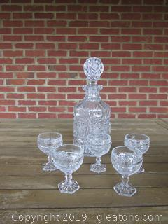 American Brilliant Cut Glass Decanter With Stopper and 5 Footed Cordial Glasses