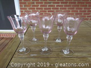 5 Gorham Rose Serenada Pink Goblets holds 12oz of liquid 8 1/2 inches tall (Pretty in Pink:0)