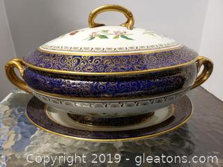 Antique 1888 Colbalt + Gold Winton Tureen With Lid And Platter