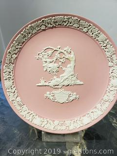 Pink And White Jasperware By Wedgewood Plate