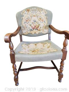 Mahogany Tapestry Armed Accent Chair