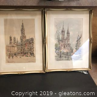 Antique German Prints Signed-2