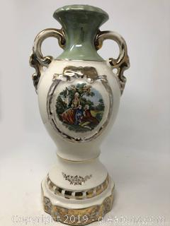 Porcelain Vintage Urn Trimmed In Gold