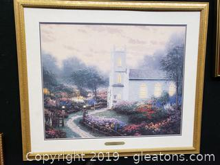 Thomas Kinkade Blossom Hill Church Signed Fine Art
