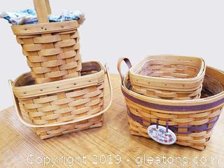 Set Of (4) 1997 Longaberger Baskets