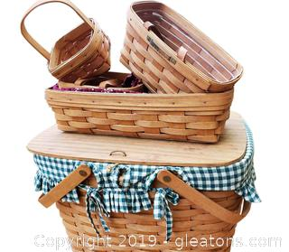 1991 Lot Of (5) Longaberger Baskets One Is Picnic Basket