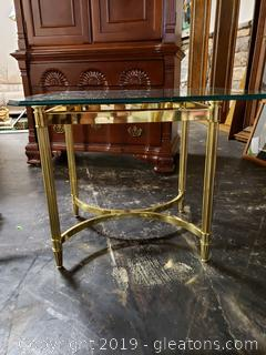 Hollywood Regency Side Table Gold and Glass