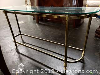 Hollywood Regency Foyer Table Gold and Glass
