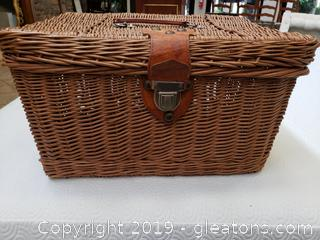 Wicker Basket With Leather Handles