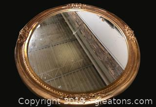 Beautiful Mirror In Gleaming Gilded Wooden Frame