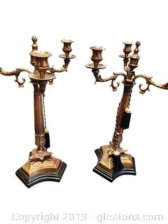 Large Brass Candelabra Pair