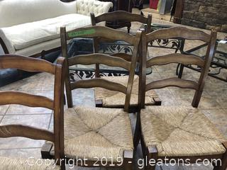 Rush Seat Ladder Back Chairs SET OF 4