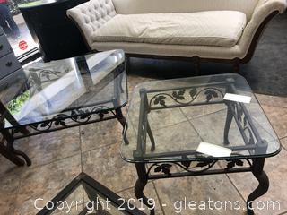 Set Of (2) Matching Heavy Wrought Iron Coffee/End Tables With Glass Tops