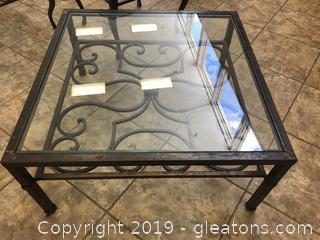 Very Heavy Large Square Wrought Iron Coffee Table With Glass Insert Top