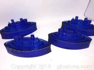 Beautiful Vintage Lot Of Cobalt Blue Candy Dishes C
