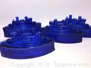 Lot Of Four Vintage Cobalt Blue Candy Dishes B