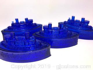 Lot Of Four Cobalt Blue Candy Dishes A