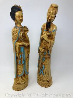 Pair Of Hand Carved Oriental Figurine Statues