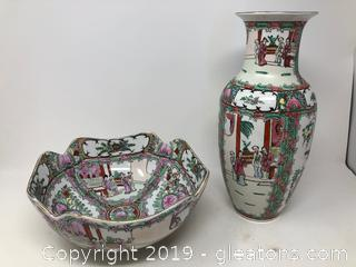 Vintage Asian Vase And Bowl A