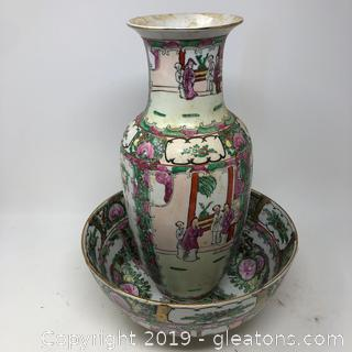 Nice Lot Of Oriental Bowl And Vase