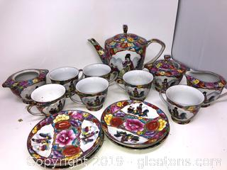 Hand Painted Oriental Tea Set And China Plates A