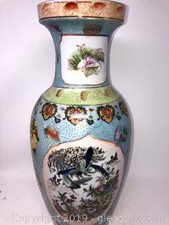 Oriental Hand Painted Tall Vase With Pastel Floral And Greenery With Birds And Heart Motiff