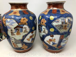 Oriental Asian Pair Of Urns Hand Painted A