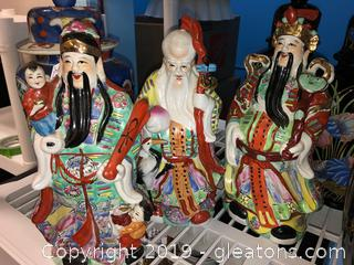 Lot Of Oriental Asian Tall Figurines