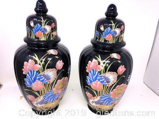 Pair Of Hand Painted Vases With OUT Lids Floral On Black Oriental Asian D