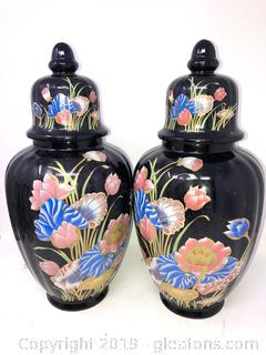 Pair Of Asian Oriental urns With Lids Floral On Black A
