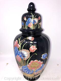 Asian Oriental Urn With Lid Painted Black With Pastel Florals B