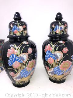 Pair Of Asian Oriental urn With Lid Floral On Black C