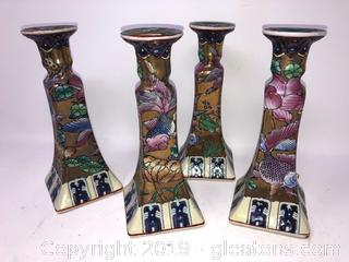 Lot Of Oriental Asian Candlesticks With Gold Fish And Floral