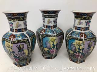 Lot Of Three Oriental Asian Vases B