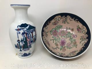 Lot Of Oriental Asian Bowl And Vase
