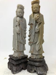 Lot Of Hand Carved Oriental Asian Tall Figurines C