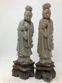 Lot Of Two Tall Asian Oriental Tall Figurines D