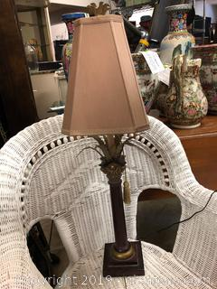 Nice Metal And Resin Plaster Palm Lamp With Finnial On Square Base