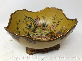 Beautiful Hand Painted Round Footed Gold Rose Floral Bowl