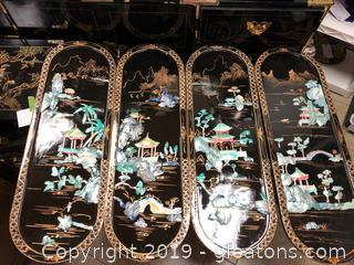 Lot Of Four Hand Carved Asian Oriental Mural Wall Art A