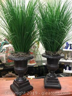 Lot Of Urns With Floral Greenery