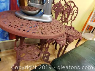 Painted Metal Cafe Table And (2) Chairs